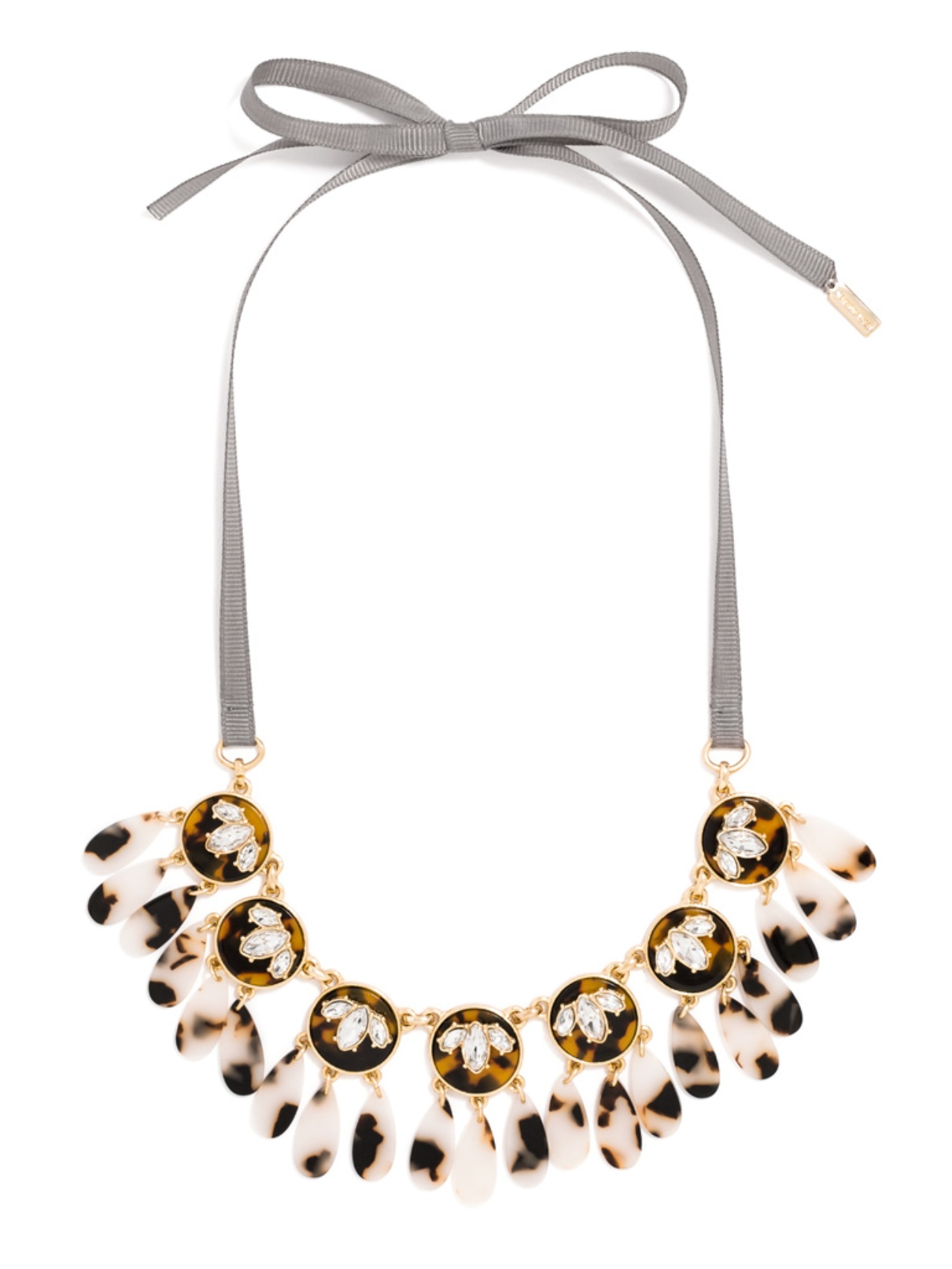 Beautiful leopard print ribbon tied statement necklace