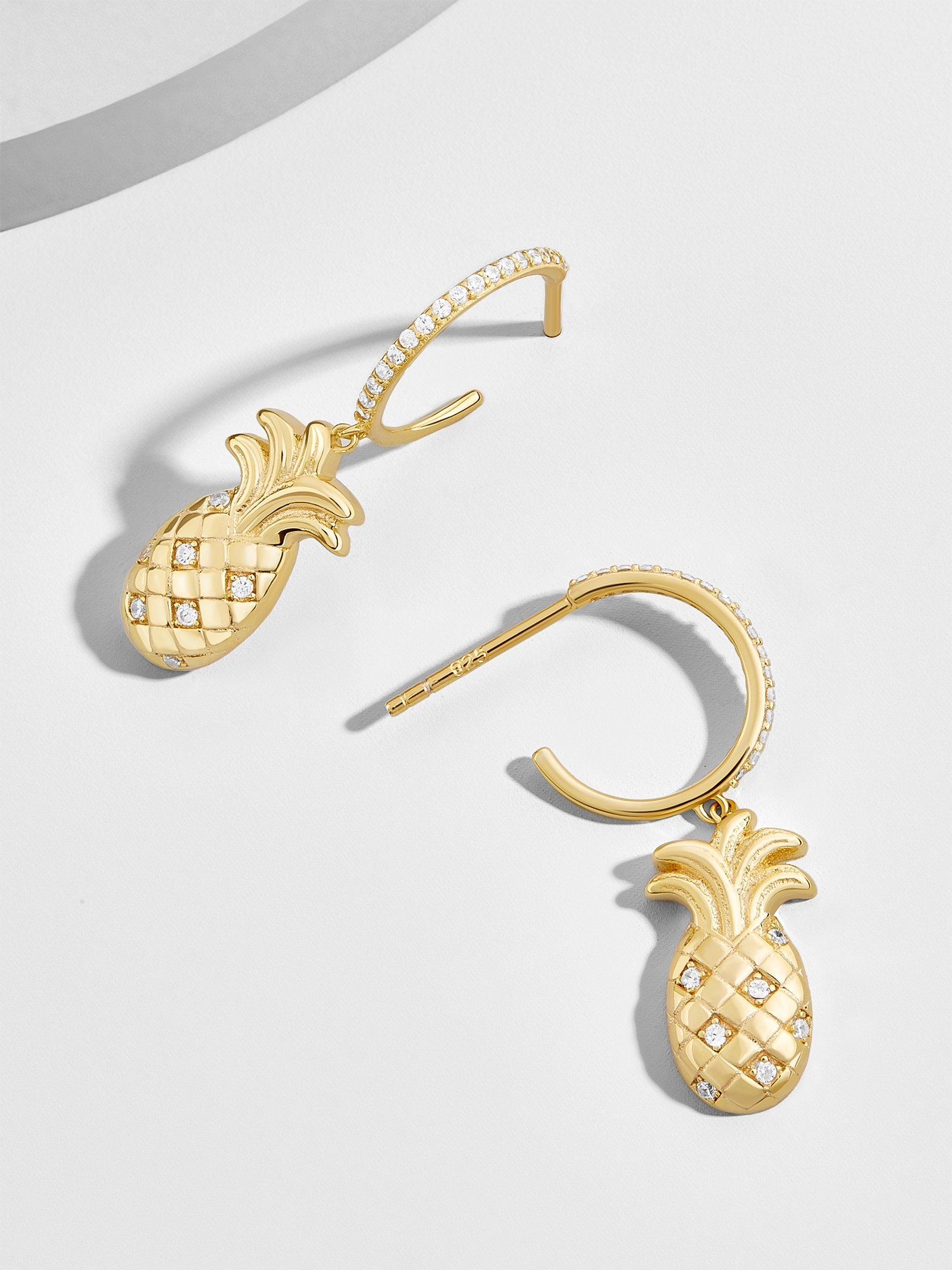Ananas 18 K Gold Plated Huggie Hoop Earrings by Baublebar
