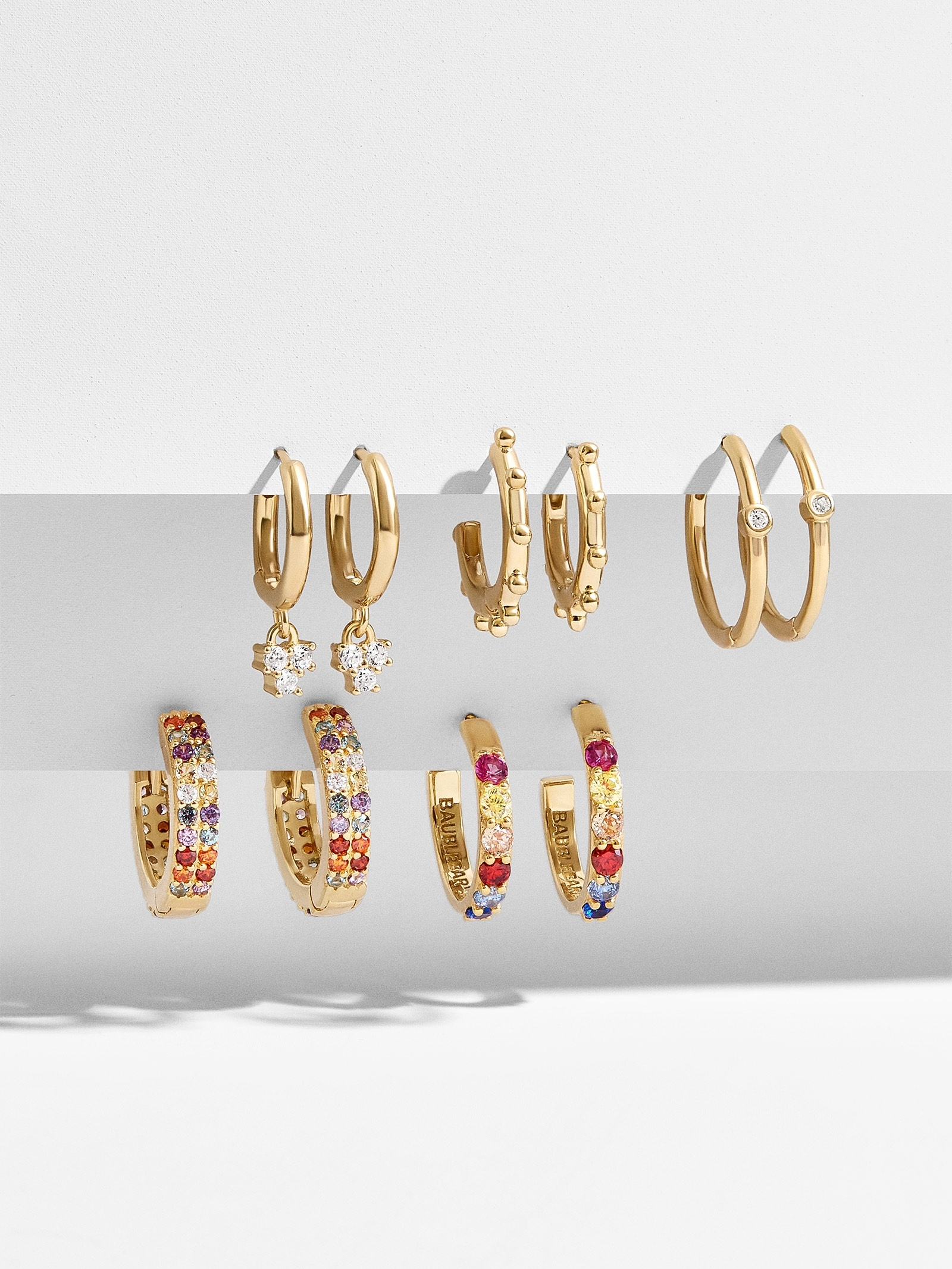 Liza 18 K Gold Plated Huggie Hoop Earring Set by Baublebar